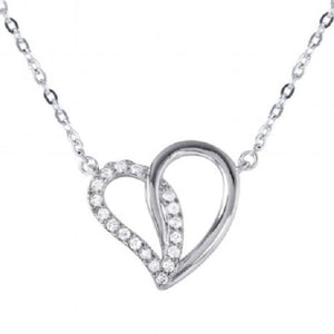925 Sterling Silver Dual Open Heart Pendant with CZ Accents Necklace
