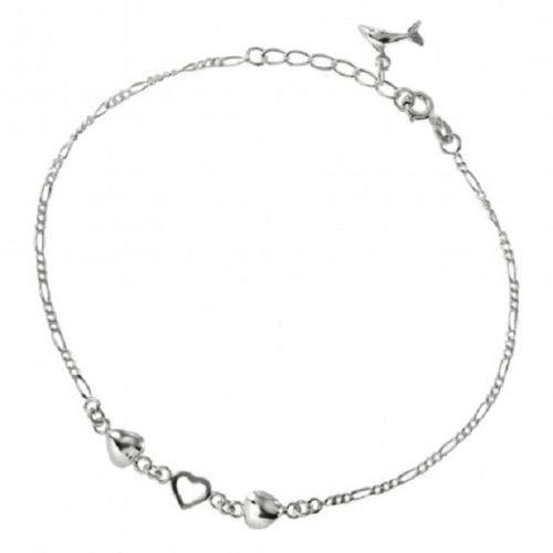 925 Sterling SilverHearts Anklet with Dangling Dolphin