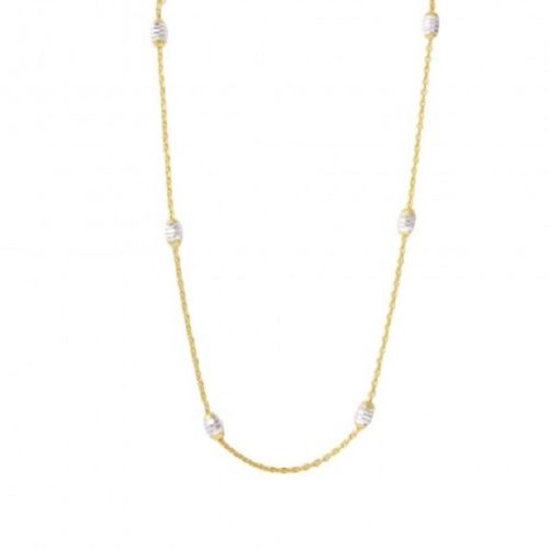 925 Sterling Silver Diamond Cut Oval Gold Plated Italian Necklace