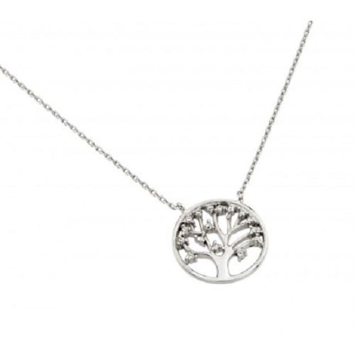 925 Sterling Silver Rhodium Plated Clear CZ Round Tree Necklace