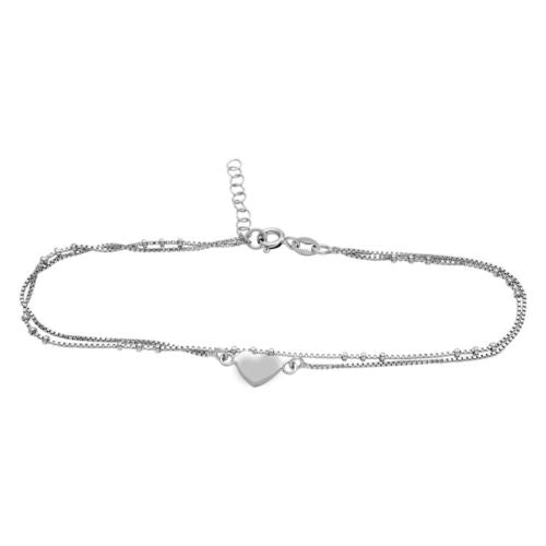 925 Sterling Silver Rhodium Plated Double Strand Heart Anklet