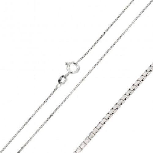 925 Sterling Silver Rhodium Plated Italian Box Chain - Width 0.8 mm