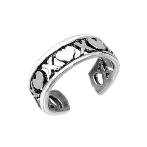925 Sterling Silver X Heart Adjustable Toe Ring