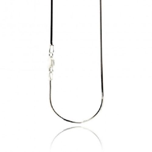 925 Sterling Silver Rhodium Plated Necklace, Italian Snake chain 1mm-16, 18 in