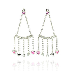 925 Sterling Silver Rhodium Plated Dangling Hearts Mom Earrings