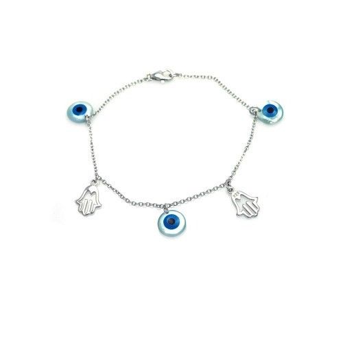 925 Sterling Silver Rhodium Plated Hamsa and Evil Eye Charm Bracelet