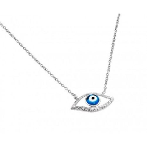 925 Sterling Silver Rhodium Plated Evil Eye Blue Iris Pendant Necklace