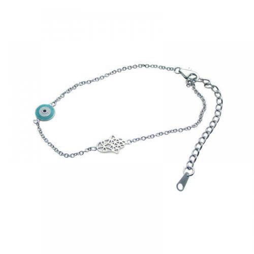 925 Sterling Silver Rhodium Plated Evil Eye and Hamsa Bracelet