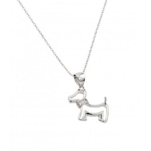 925 Sterling Silver Rhodium Plated Clear CZ Dog Necklace