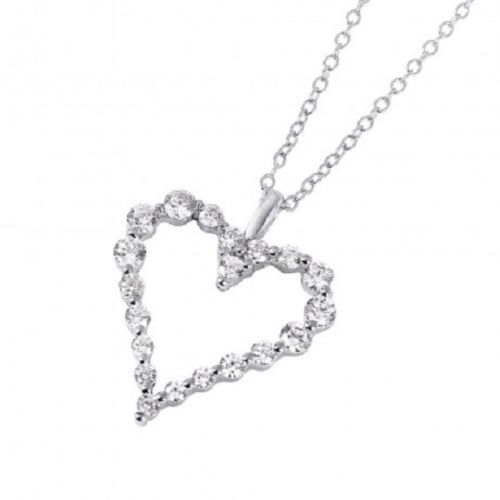 925 Sterling Silver Rhodium Plated Open Heart CZ Pendant Necklace