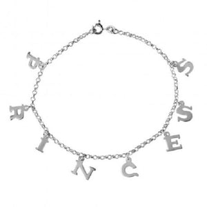 925 Sterling Silver PRINCESS Chain Link Anklet