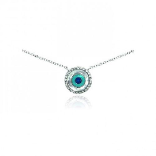 925 Sterling Silver Rhodium Plated Clear Evil Eye Pendant Necklace