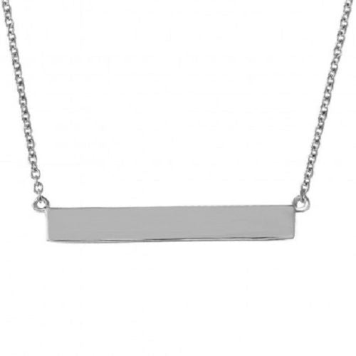 925 Sterling Silver Rhodium Plated Rectangular Tag Necklace