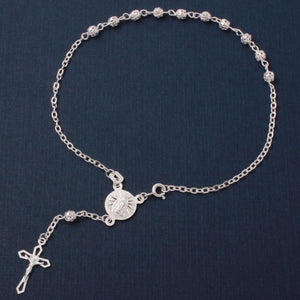 925 Sterling Silver High Polished Filigree Rosary Anklet