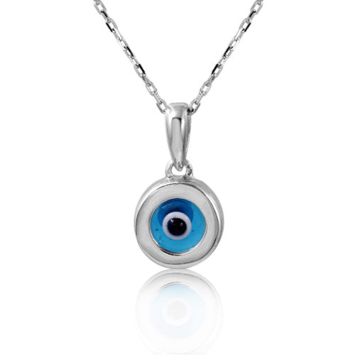 925 Sterling Silver Rhodium Plated Round Evil Eye Necklace