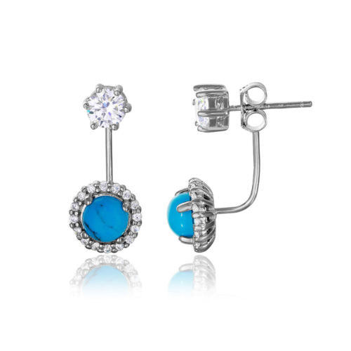 925 Sterling Silver Rhodium Plated Round CZ with Hanging Round Turquoise Earring