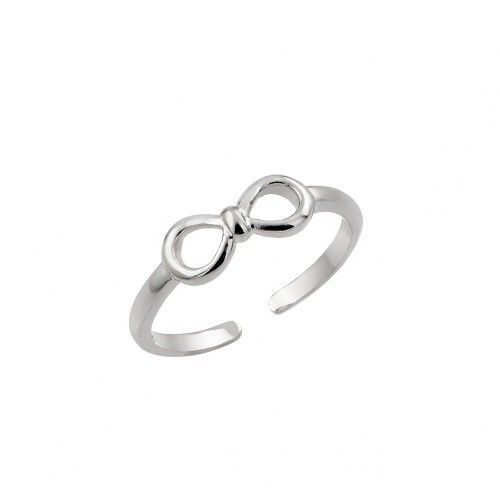 925 Sterling Silver Rhodium Plated Mini Bow Toe Ring