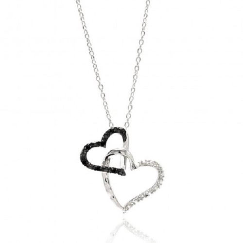 925 Sterling Silver Rhodium Plated Double Open Heart Black & Clear CZ Necklace