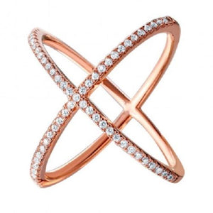 925 Sterling Silver Nickel Free Rose Gold Plated 4 Way CZ Ring