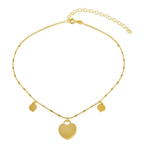 925 Sterling Silver Gold Plated Triple Heart Choker Necklace