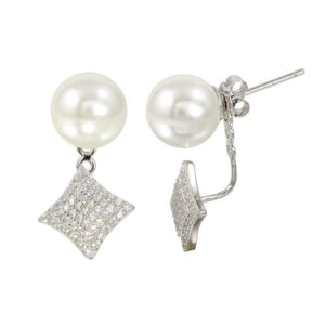 925 Sterling Silver Rhodium Plated Synthetic Pearl Front and Back Earrings
