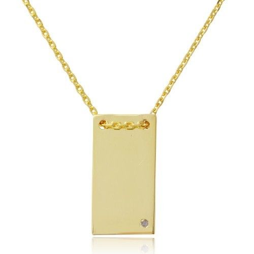 925 Sterling Silver Gold Plated Engravable Rectangular Geometric Necklace with CZ