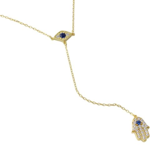 925 Sterling Silver Gold Plated Evil Eye with Dropped Hamsa and CZ Necklace