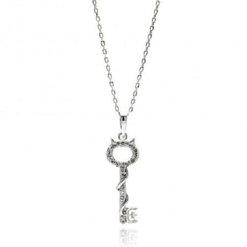 925 Sterling Silver Rhodium Plated Open Key CZ Necklace
