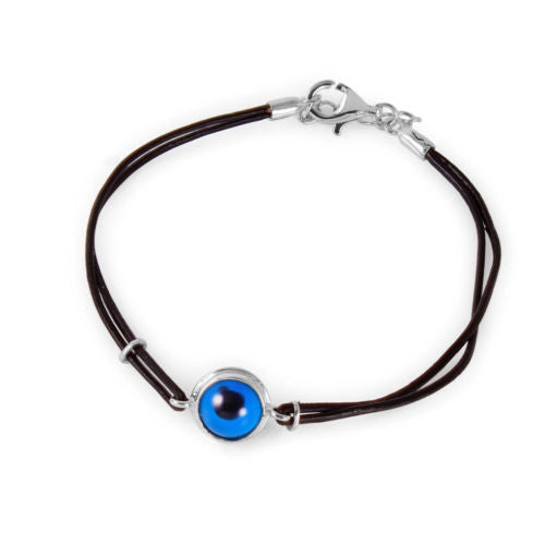 925 Sterling Silver Round Evil Eye Leather Strap Bracelet