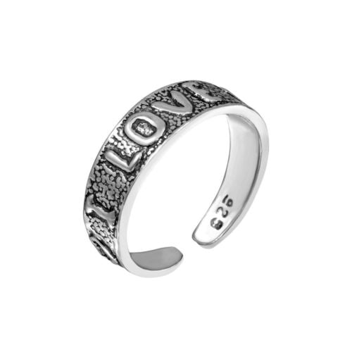 925 Sterling Silver Engraved I Love You Toe Ring