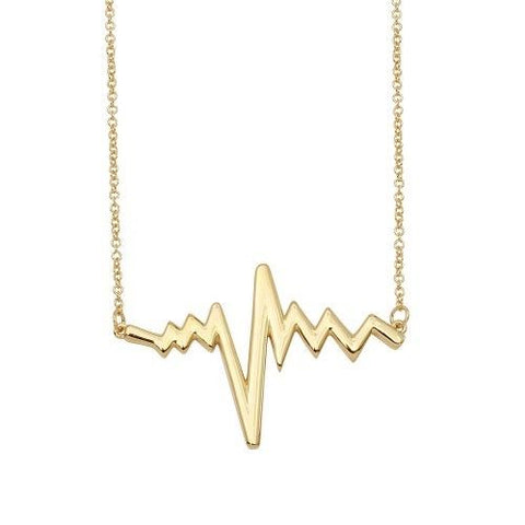 925 Sterling Silver Gold Plated Pulse Heart Beat Necklace