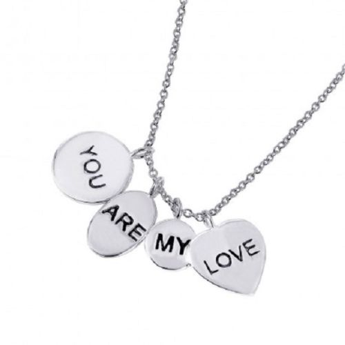 "925 Sterling Silver Rhodium Plated Engraved ""You Are My Love"" Necklace"