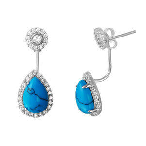 925 Sterling Silver CZ Flower with Hanging Turquoise Pears Earrings