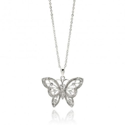Rhodium Plated Brass Butterfly Clear CZ Pendant Necklace