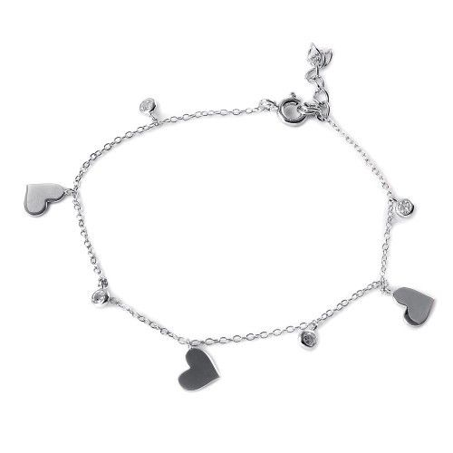 925 Sterling Silver CZ Small Hearts Bracelet