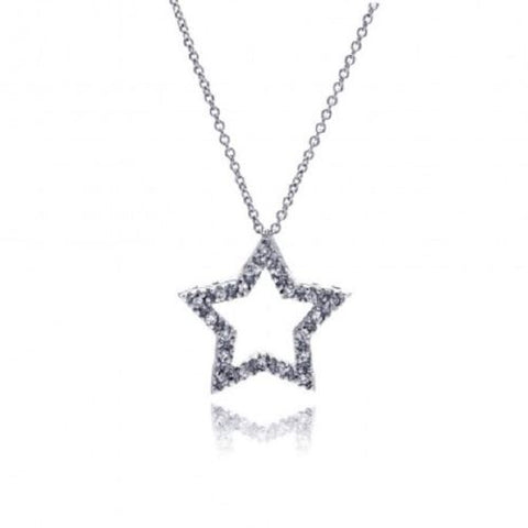 925 Sterling Silver Clear CZ Rhodium Plated Star Pendant Necklace