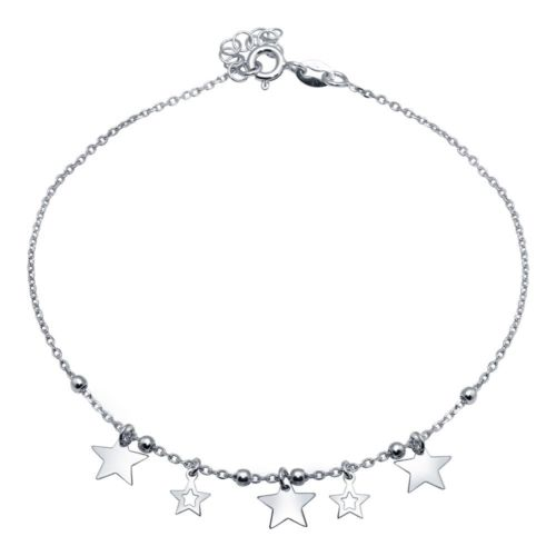 925 Sterling Silver Rhodium Plated Star Charms Anklet
