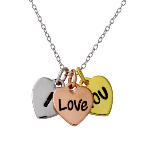 925 Sterling Silver Tri-Color Plated I Love YOU Heart Necklace