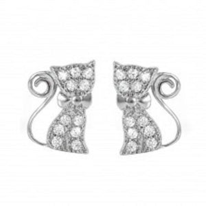 925 Sterling Silver Rhodium Plated Bow Kitty Earrings
