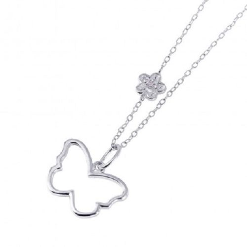 925 Sterling Silver Rhodium Plated Open Butterfly with Flower CZ Necklace