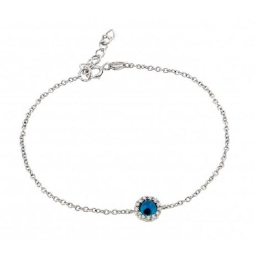 925 Sterling Silver Rhodium Plated Evil Eye CZ Bracelet