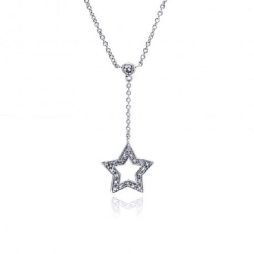 925 Sterling Silver Rhodium Plated Drop Star Necklace