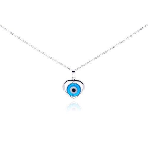 925 Sterling Silver Rhodium Open Heart Evil Eye CZ Necklace Necklace
