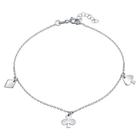925 Sterling Silver Rhodium Plated Diamond, Clover, and Spade Charm Anklet