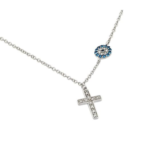925 Sterling Silver Rhodium Plated Clear CZ Stone Cross with Blue CZ Circle Necklace
