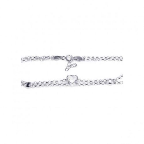 925 Sterling Silver Adjustable Heart center Ankle Bracelet Anklet
