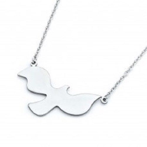 925 Sterling Silver Rhodium Plated Dove Pendant Necklace