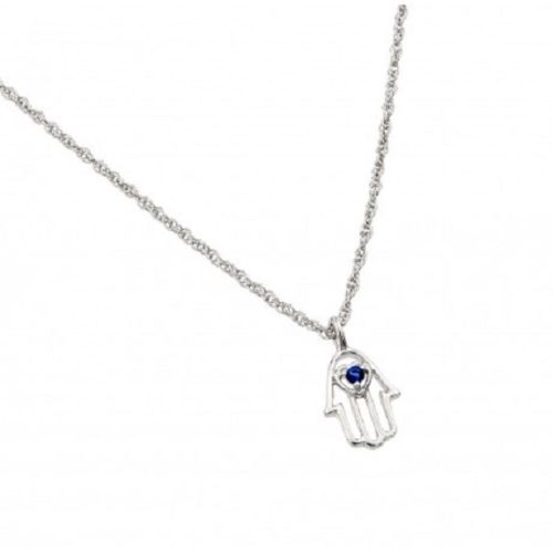 925 Sterling Silver Rhodium Plated Blue Hamsa Pendant Necklace