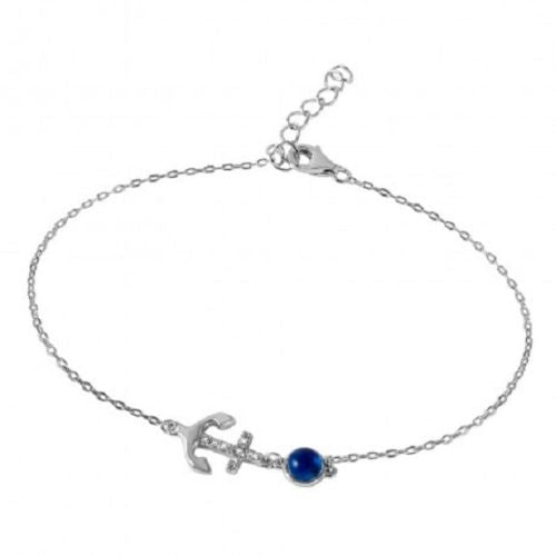 925 Sterling Silver Evil Eye Anchor Bracelet With CZ Accents