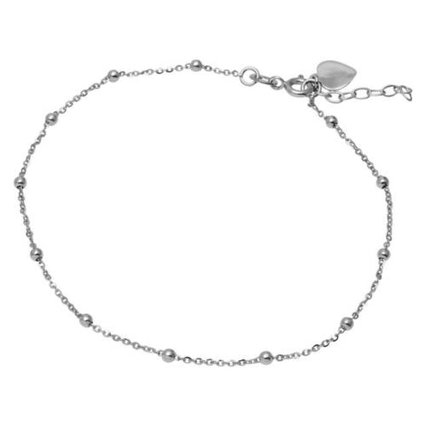 925 Sterling Silver Rhodium Plated DC Beads and Heart Anklet